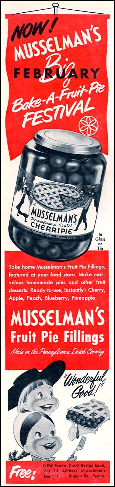 MUSSELMAN'S FRUIT PIE FILLINGS FAMILY CIRCLE 02/01/1956 p. 80