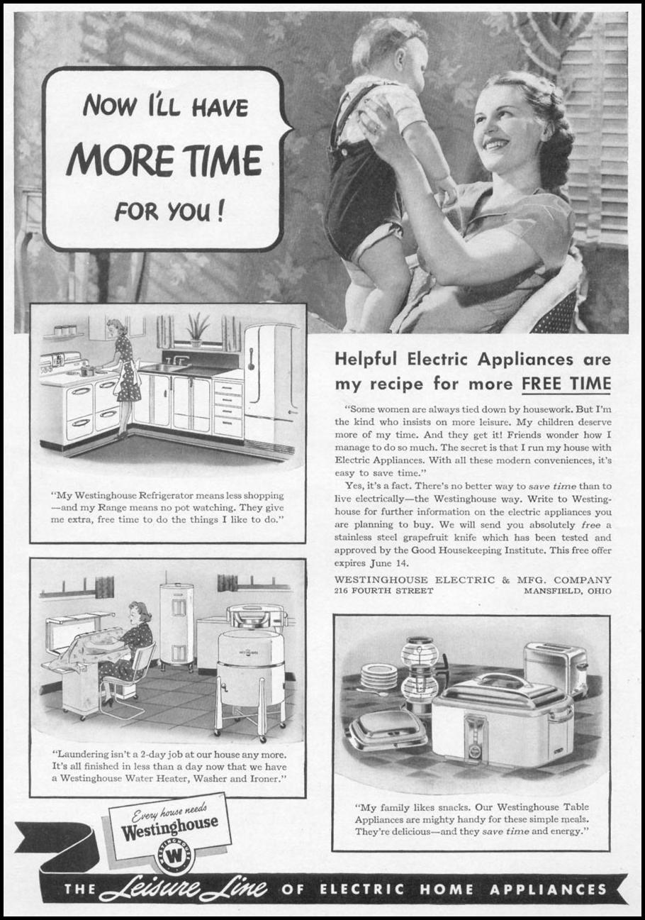 WESTINGHOUSE LUXURY LINE ELECTRIC APPLIANCES WOMAN'S DAY 05/01/1941 p. 59