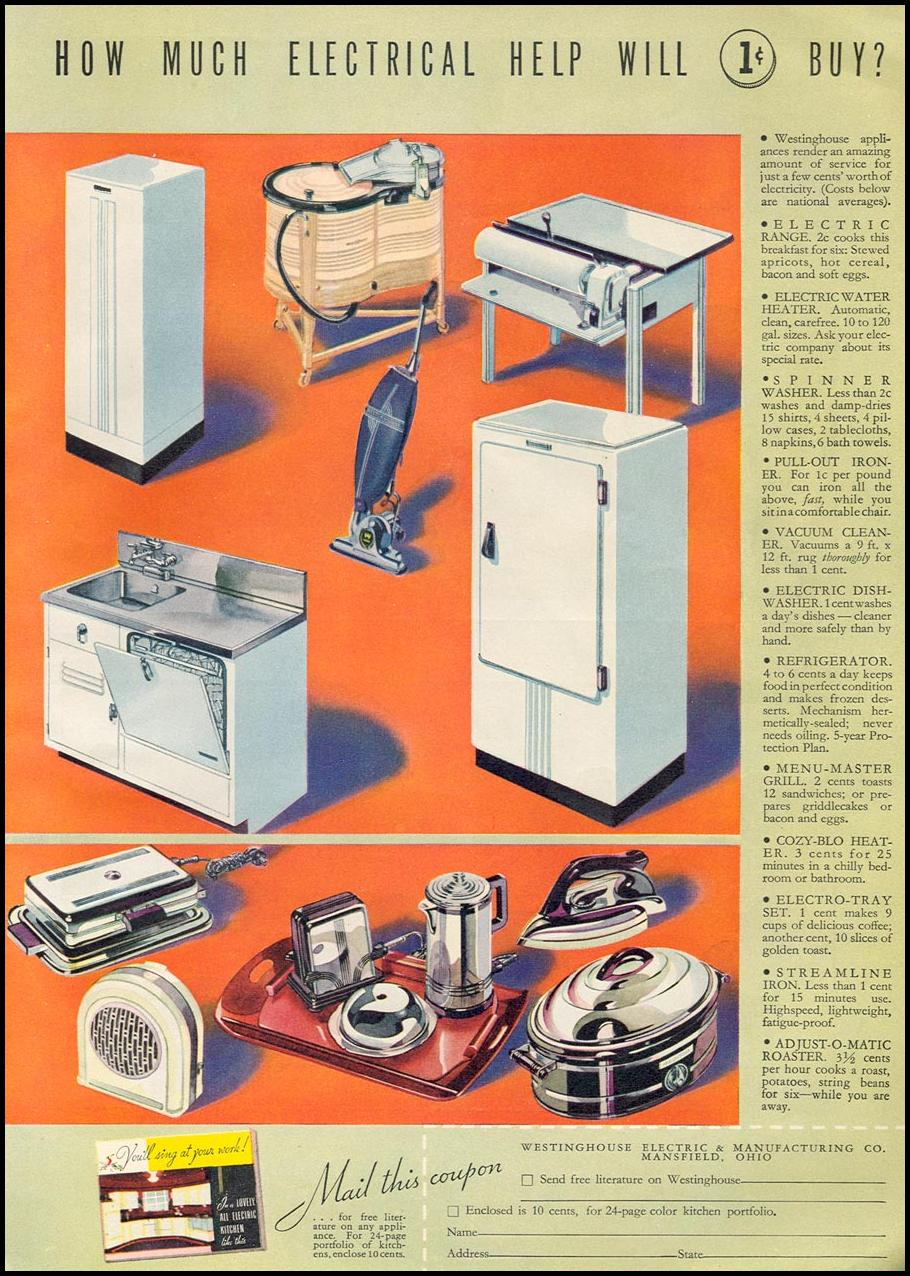 WESTINGHOUSE ELECTRIC APPLIANCES GOOD HOUSEKEEPING 04/01/1936 p. 119