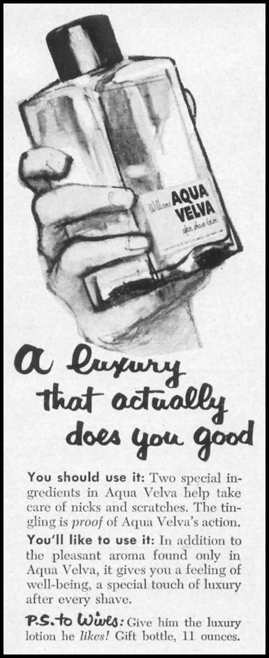 AQUA VELVA AFTER SHAVE LOTION LIFE 10/13/1952 p. 98