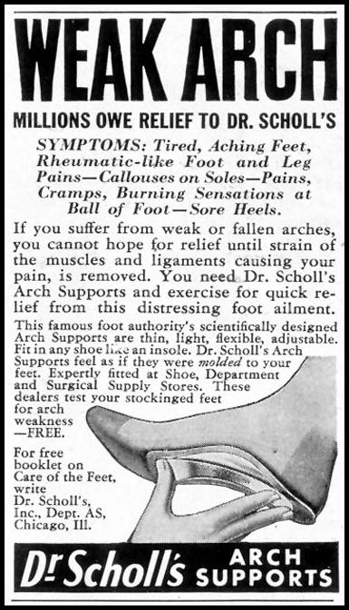 DR. SCHOLL'S ARCH SUPPORTS SATURDAY EVENING POST 10/06/1945 p. 102