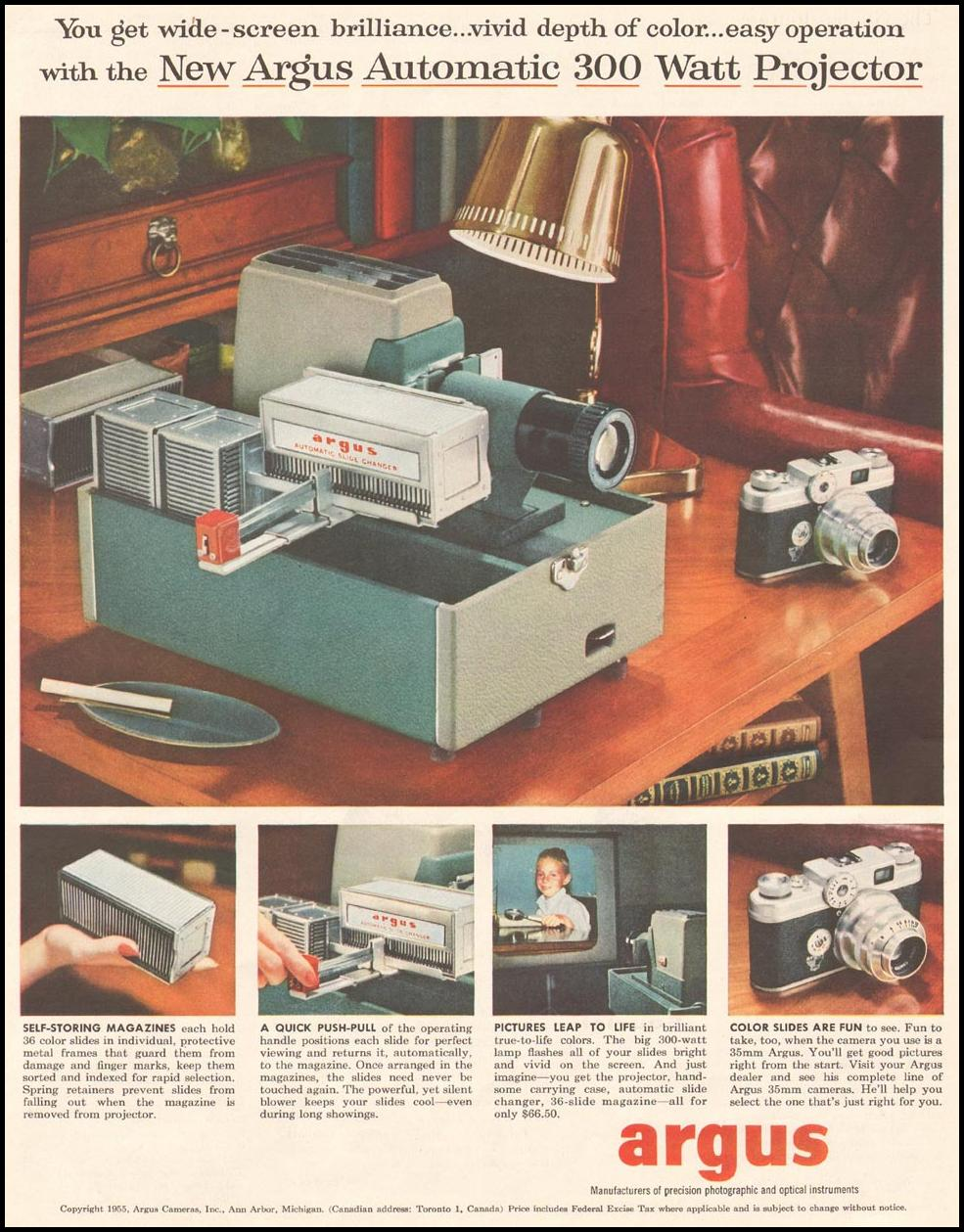 ARGUS SLIDE PROJECTORS SATURDAY EVENING POST 10/29/1955 p. 109