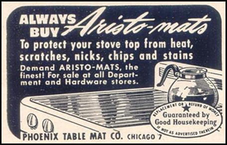ARISTO-MAT RANGE MATS GOOD HOUSEKEEPING 07/01/1949 p. 201