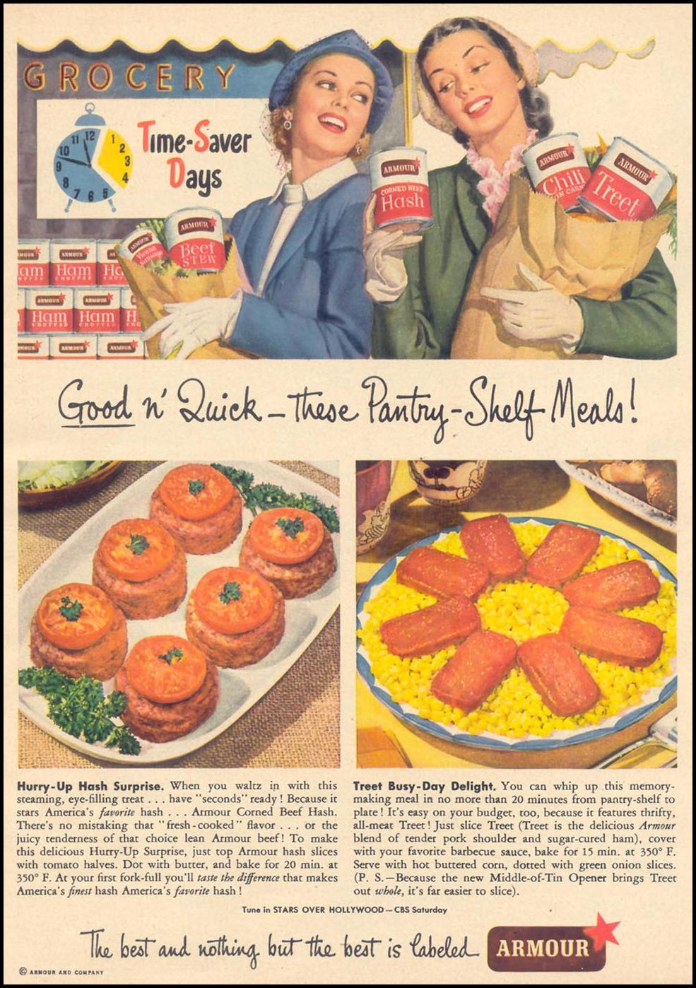 ARMOUR STAR PANTRY-SHELF MEALS WOMAN'S DAY 05/01/1949 p. 67