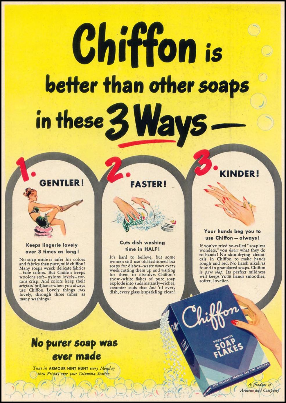 CHIFFON SOAP FLAKES WOMAN'S DAY 08/01/1948 p. 28