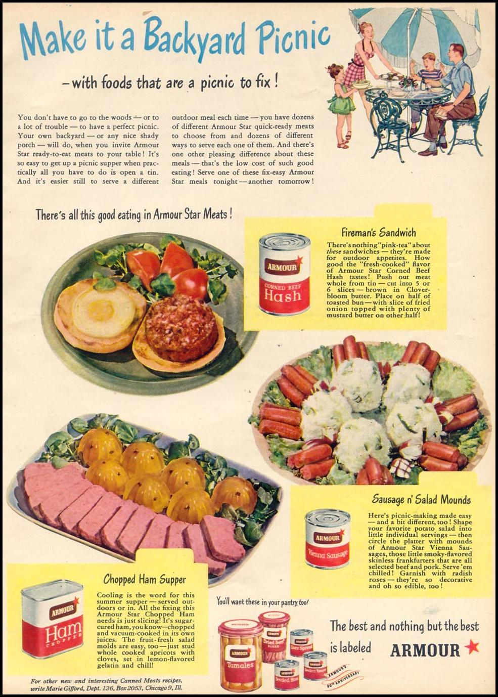ARMOUR CANNED MEATS WOMAN'S DAY 09/01/1947 p. 81