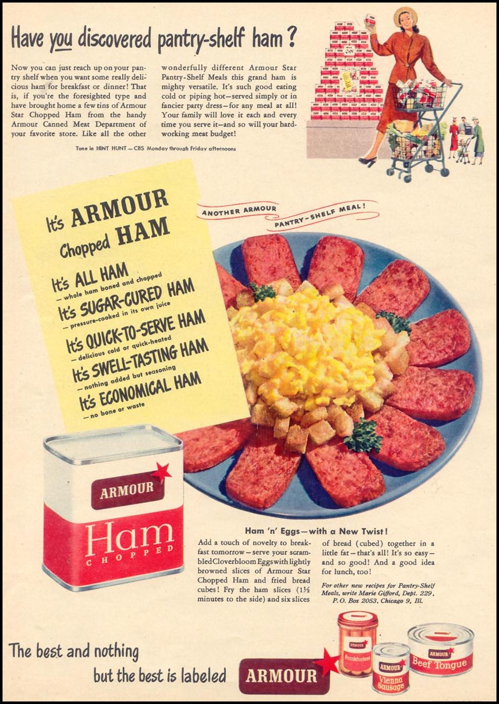 ARMOUR CANNED MEATS WOMAN'S DAY 09/01/1948 p. 88