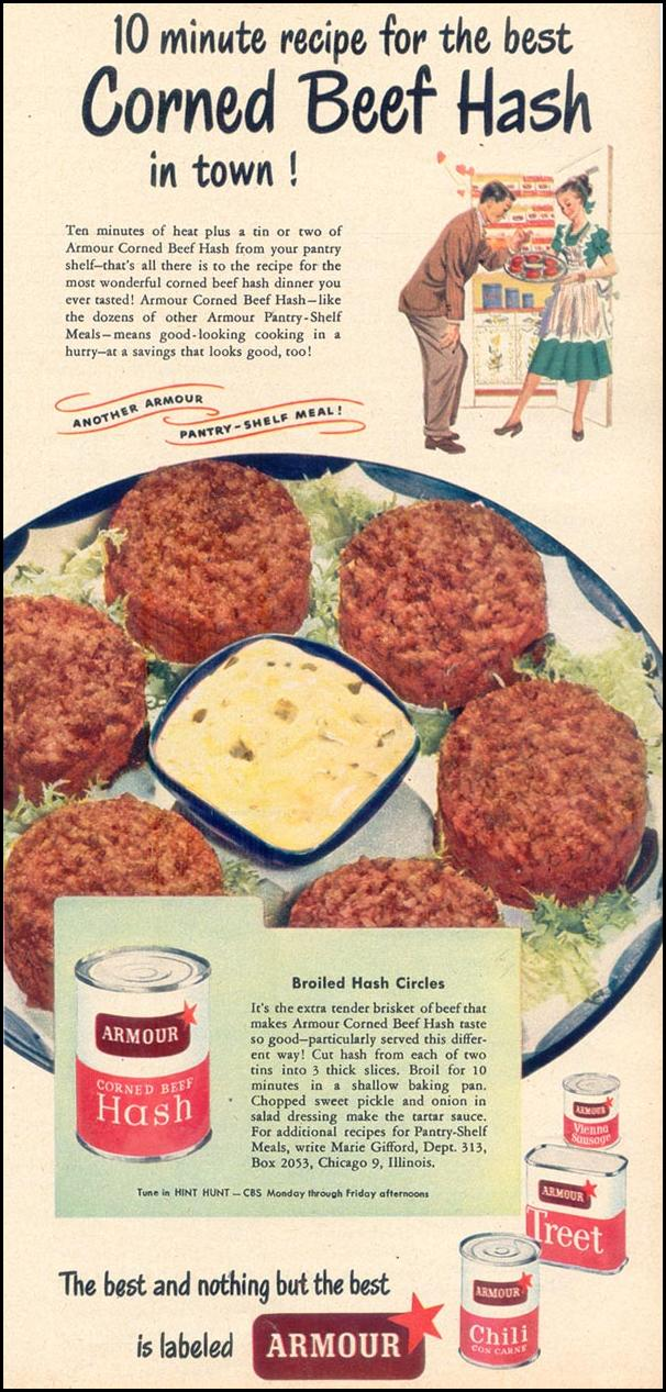 ARMOUR CORNED BEEF HASH WOMAN'S DAY 10/01/1948 p. 97