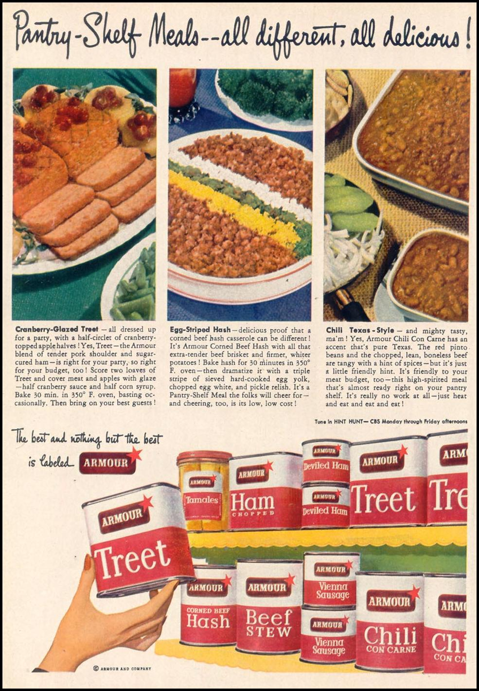 ARMOUR CANNED MEATS WOMAN'S DAY 11/01/1948 p. 34