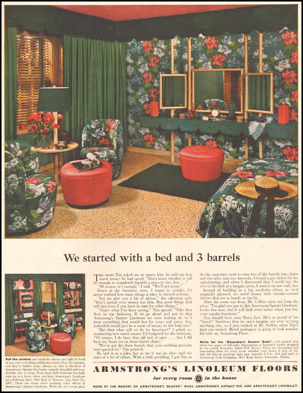 ARMSTRONG LINOLEUM FLOORS LADIES' HOME JOURNAL 11/01/1950 INSIDE FRONT