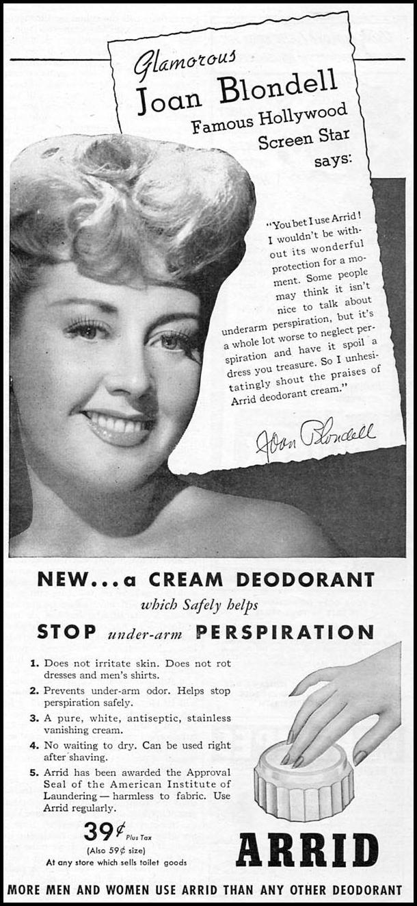ARRID DEODORANT WOMAN'S DAY 07/01/1945 p. 73