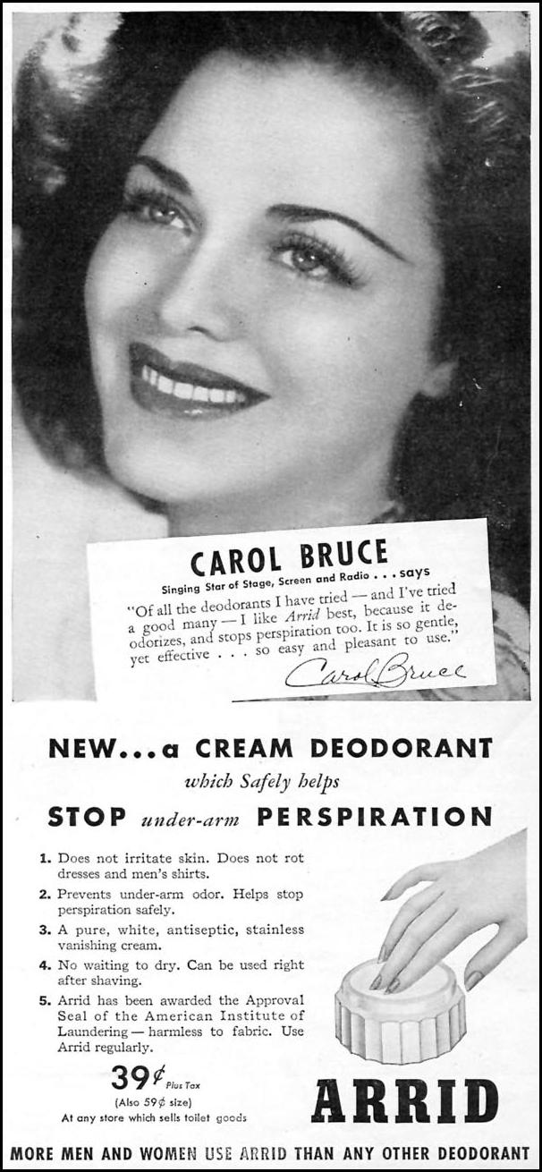 ARRID DEODORANT WOMAN'S DAY 09/01/1945 p. 57