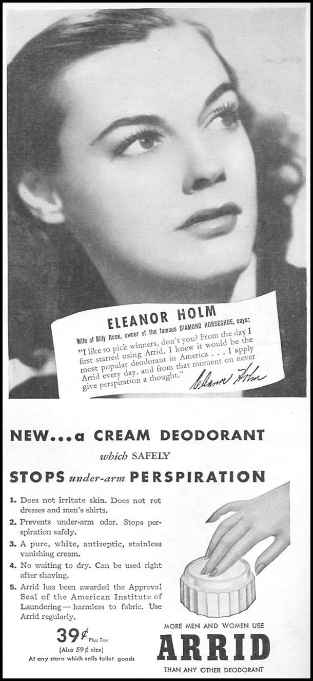 ARRID DEODORANT & ANTI-PERSPERANT WOMAN'S DAY 11/01/1945 p. 87