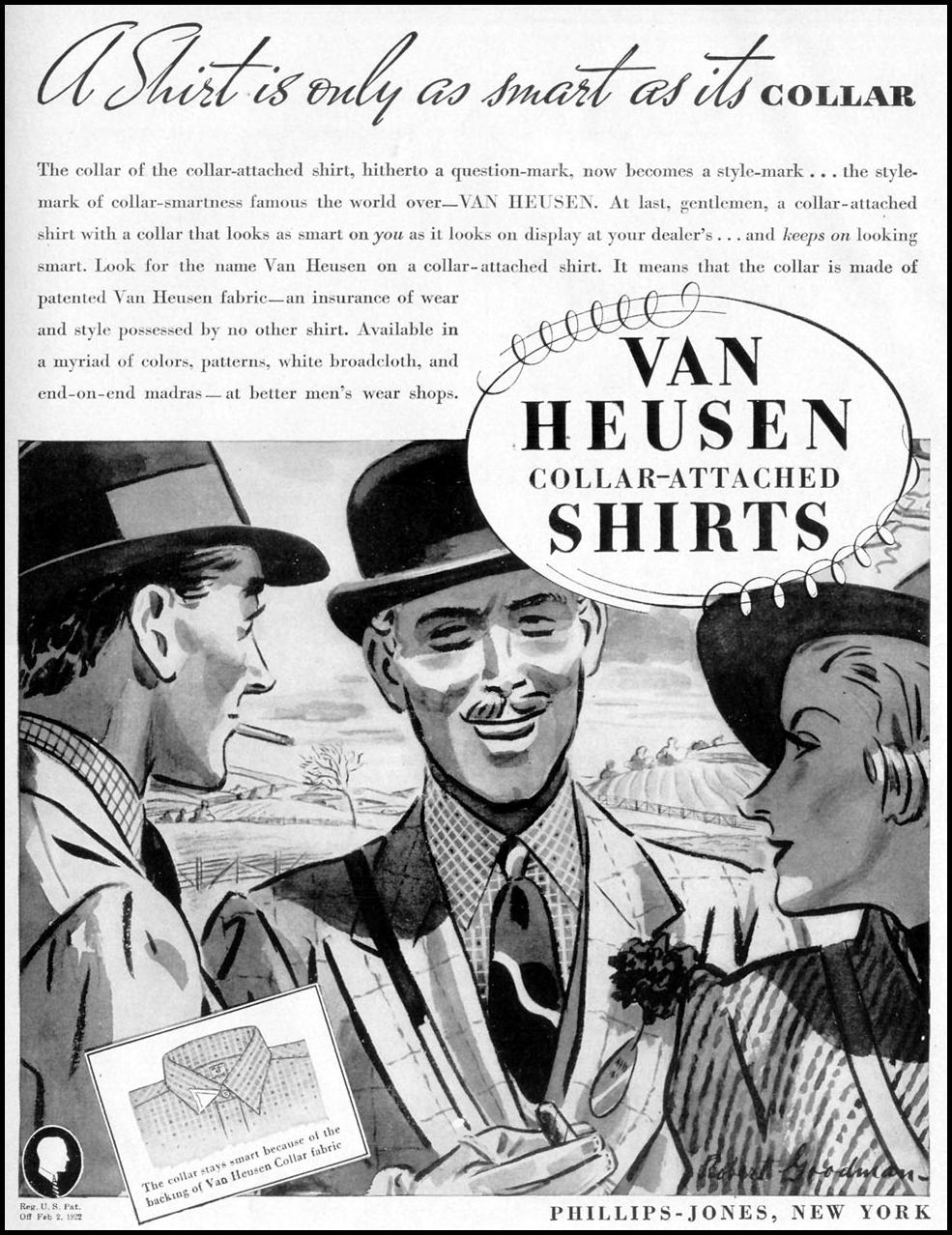 VAN HEUSEN COLLAR-ATTACHED SHIRTS LIFE 09/06/1937 p. 97
