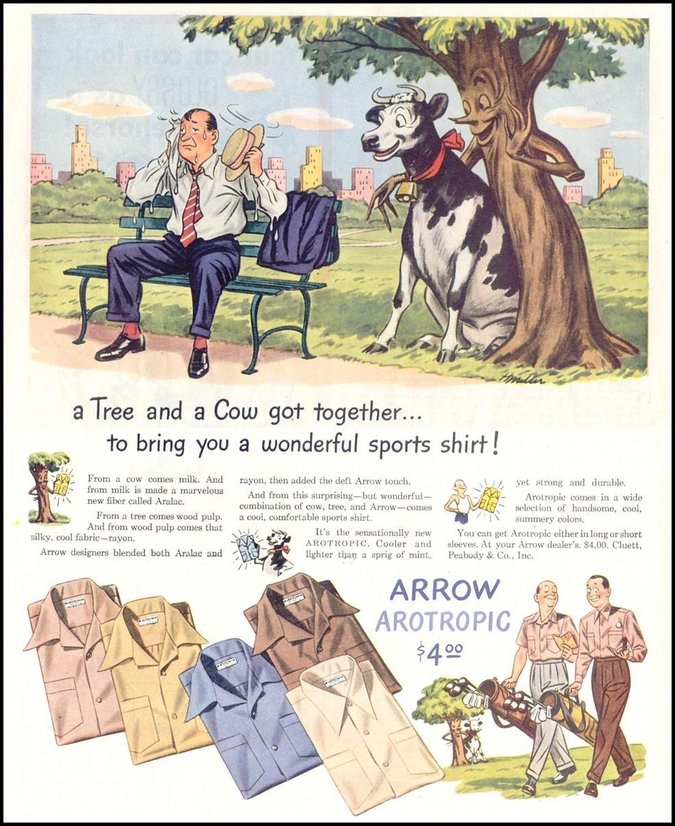 ARROW AROTROPIC ARALAC SPORTS SHIRTS SATURDAY EVENING POST 05/19/1945 p. 40