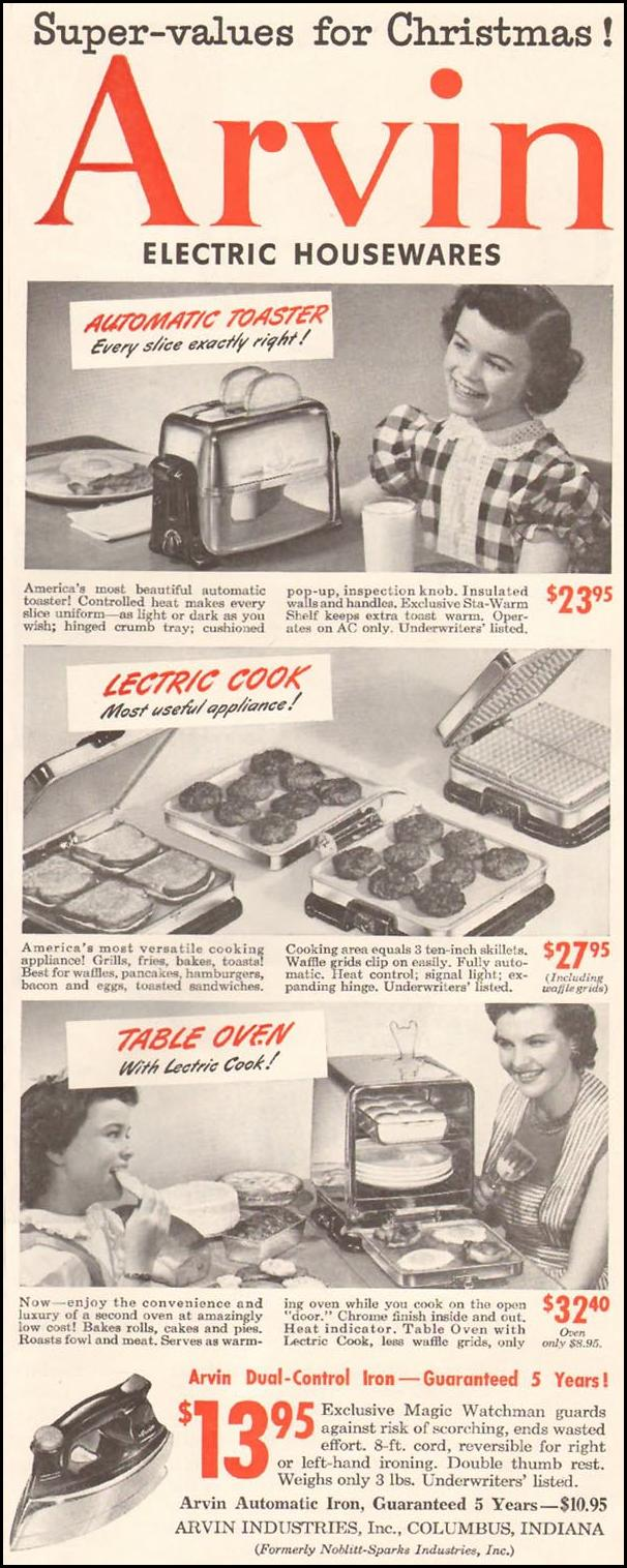 ARVIN ELECTRIC HOUSEWARES LADIES' HOME JOURNAL 11/01/1950 p. 21