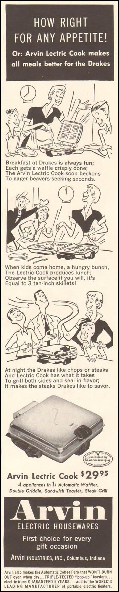ARVIN LECTRIC COOK LADIES' HOME JOURNAL 03/01/1954 p. 121