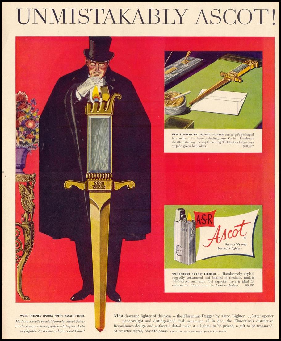 ASCOT CIGARETTE LIGHTERS LIFE 10/13/1952 p. 114