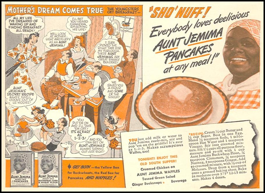 AUNT JEMIMA PANCAKE MIX WOMAN'S DAY 04/01/1943 p. 61