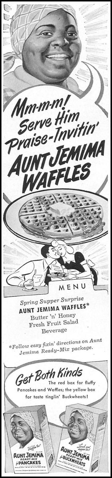 AUNT JEMIMA PANCAKES WOMAN'S DAY 04/01/1949 p. 90