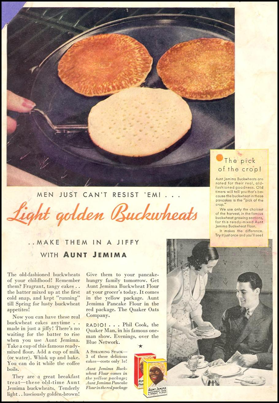AUNT JEMIMA PANCAKE MIX GOOD HOUSEKEEPING 01/01/1932 INSIDE FRONT