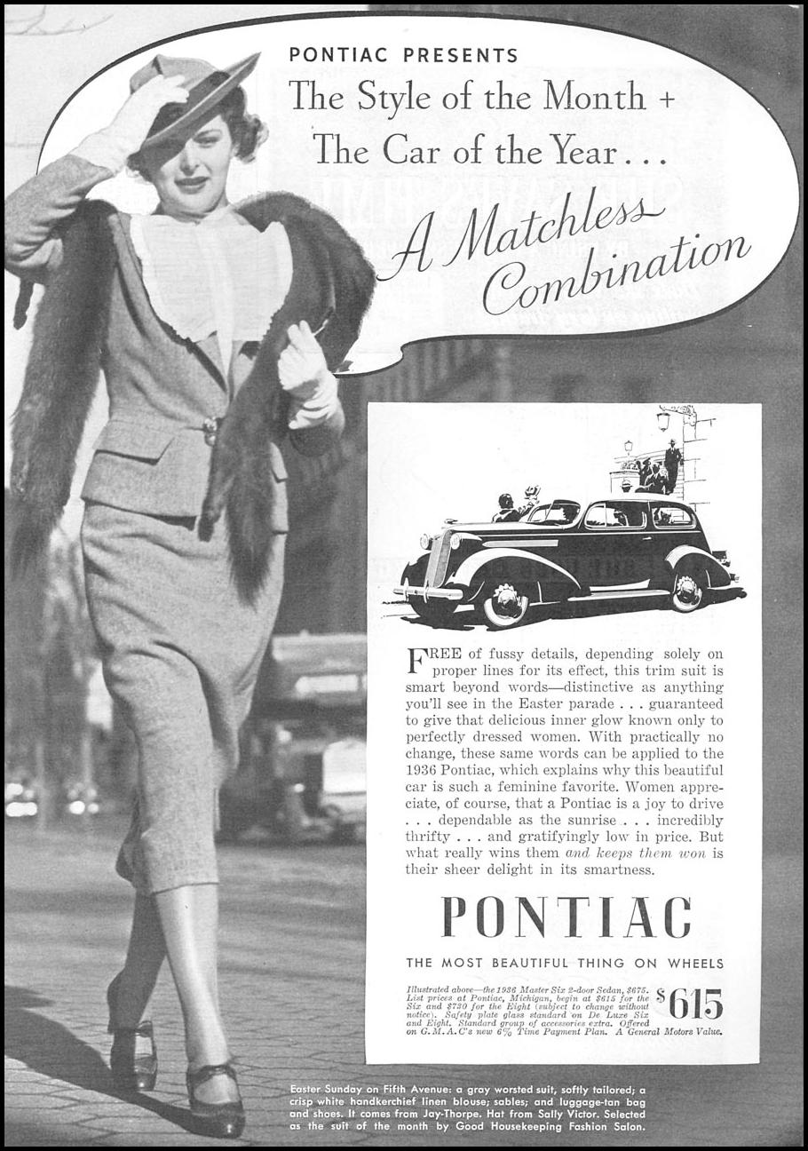 PONTIAC AUTOMOBILES GOOD HOUSEKEEPING 04/01/1936 p. 133