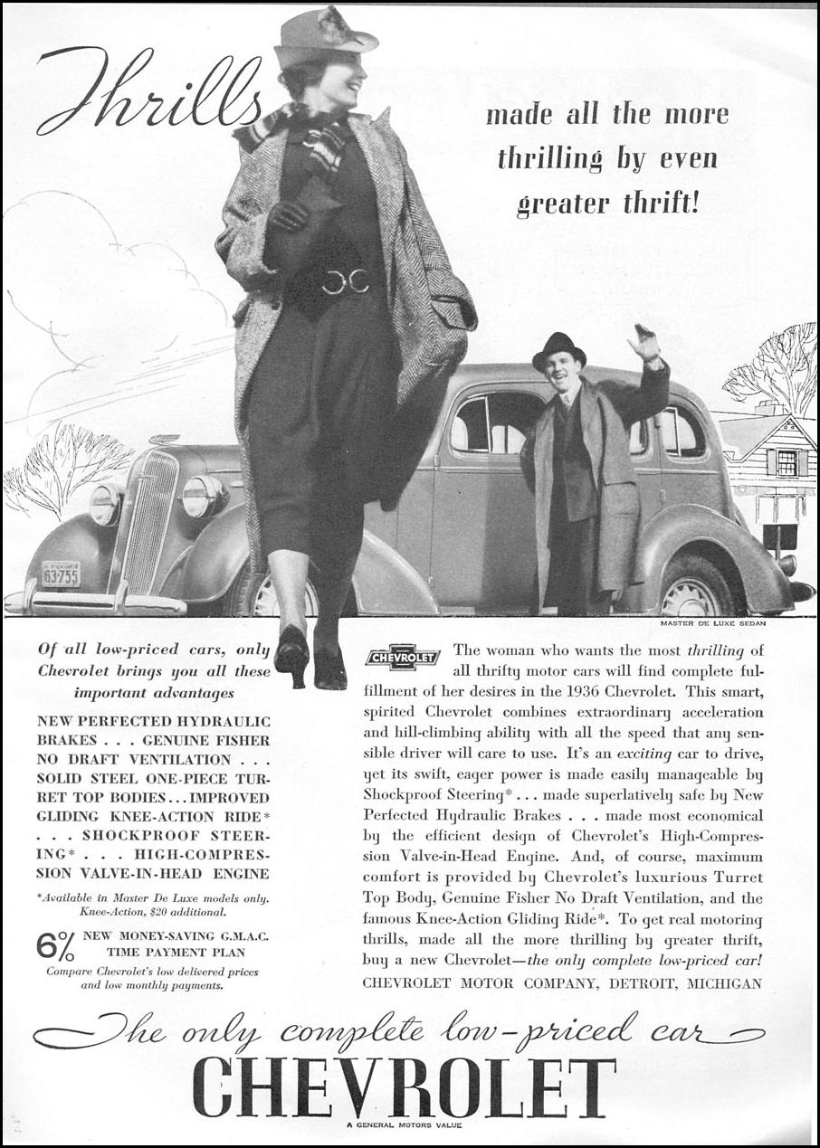 CHEVROLET AUTOMOBILES GOOD HOUSEKEEPING 04/01/1936 p. 153