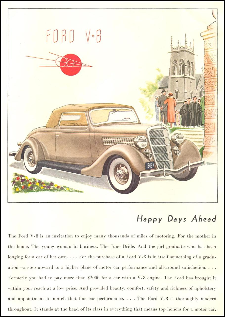 FORD AUTOMOBILES GOOD HOUSEKEEPING 06/01/1935 p. 134