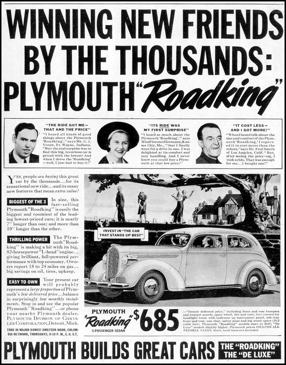 PLYMOUTH AUTOMOBILES LIFE 07/18/1938 p. 1