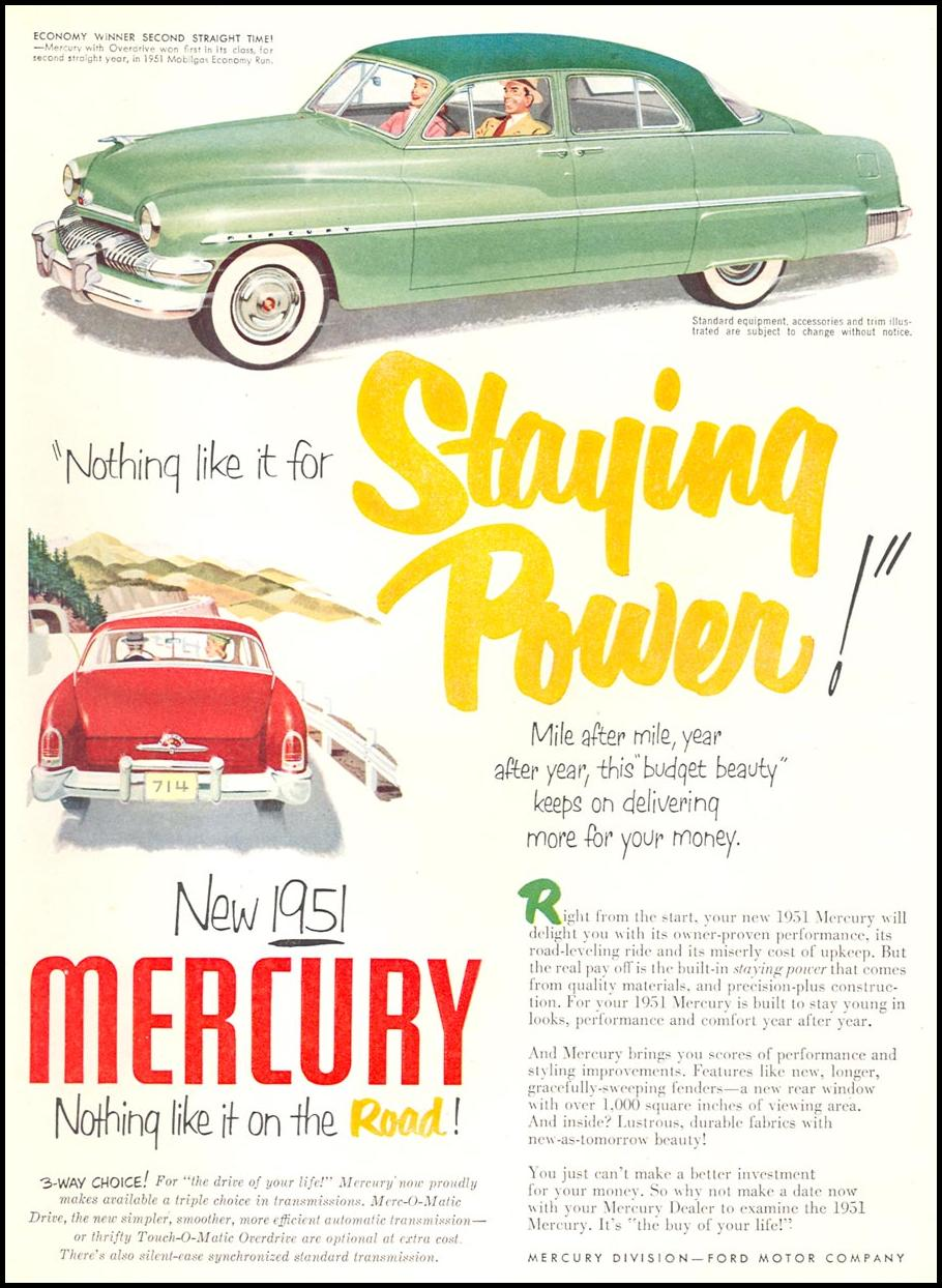 MERCURY AUTOMOBILES NEWSWEEK 06/11/1951 p. 41