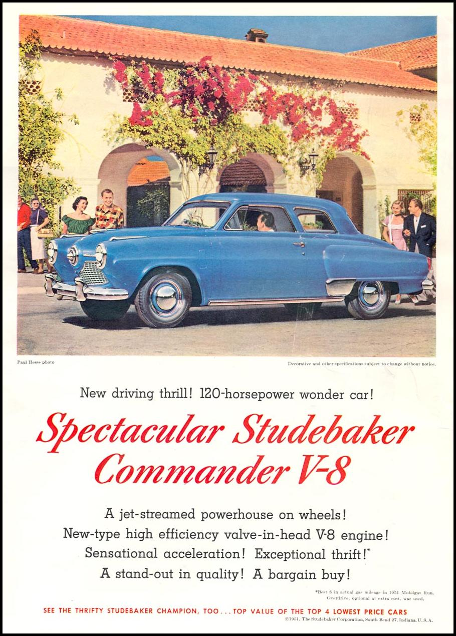 STUDEBAKER AUTOMOBILES NEWSWEEK 08/20/1951 INSIDE FRONT