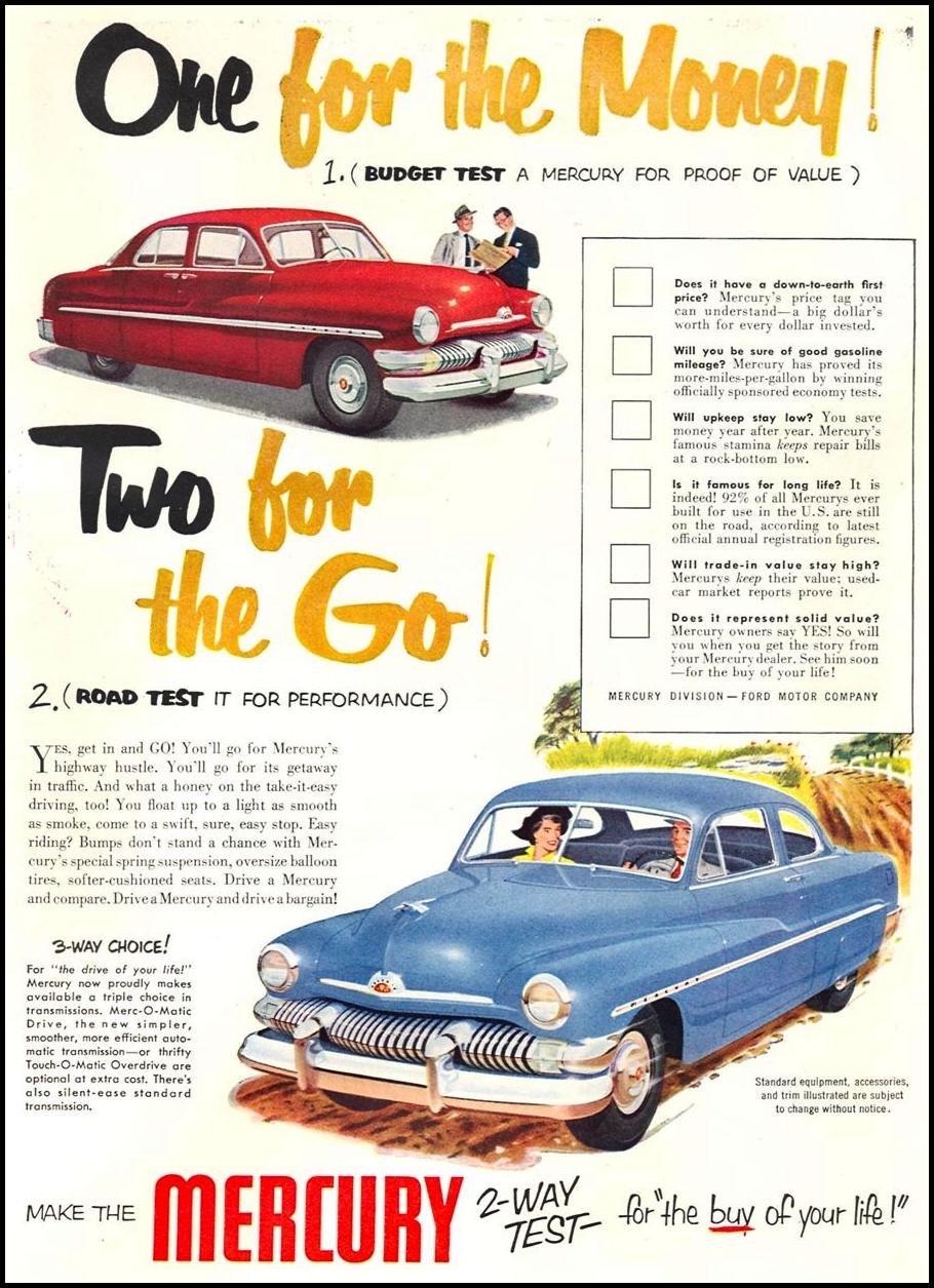 MERCURY AUTOMOBILES NEWSWEEK 08/20/1951 p. 11