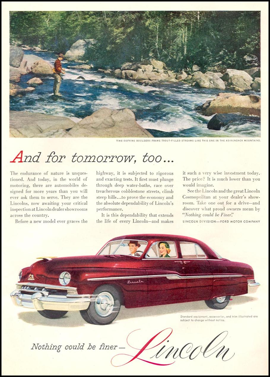 LINCOLN AUTOMOBILES NEWSWEEK 09/03/1951 p. 55
