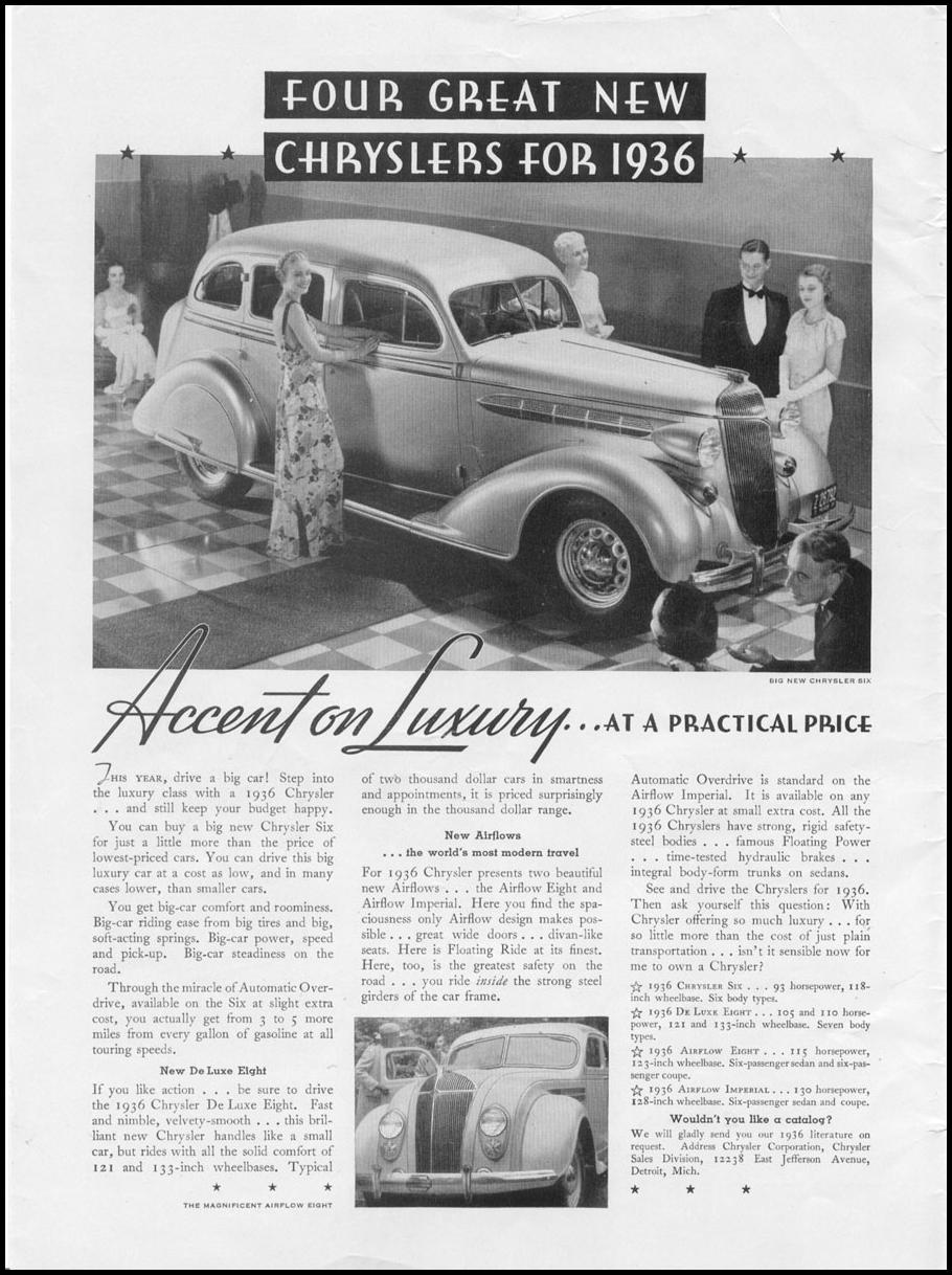 CHRYSLER AUTOMOBILES NEWSWEEK 11/09/1935 INSIDE FRONT