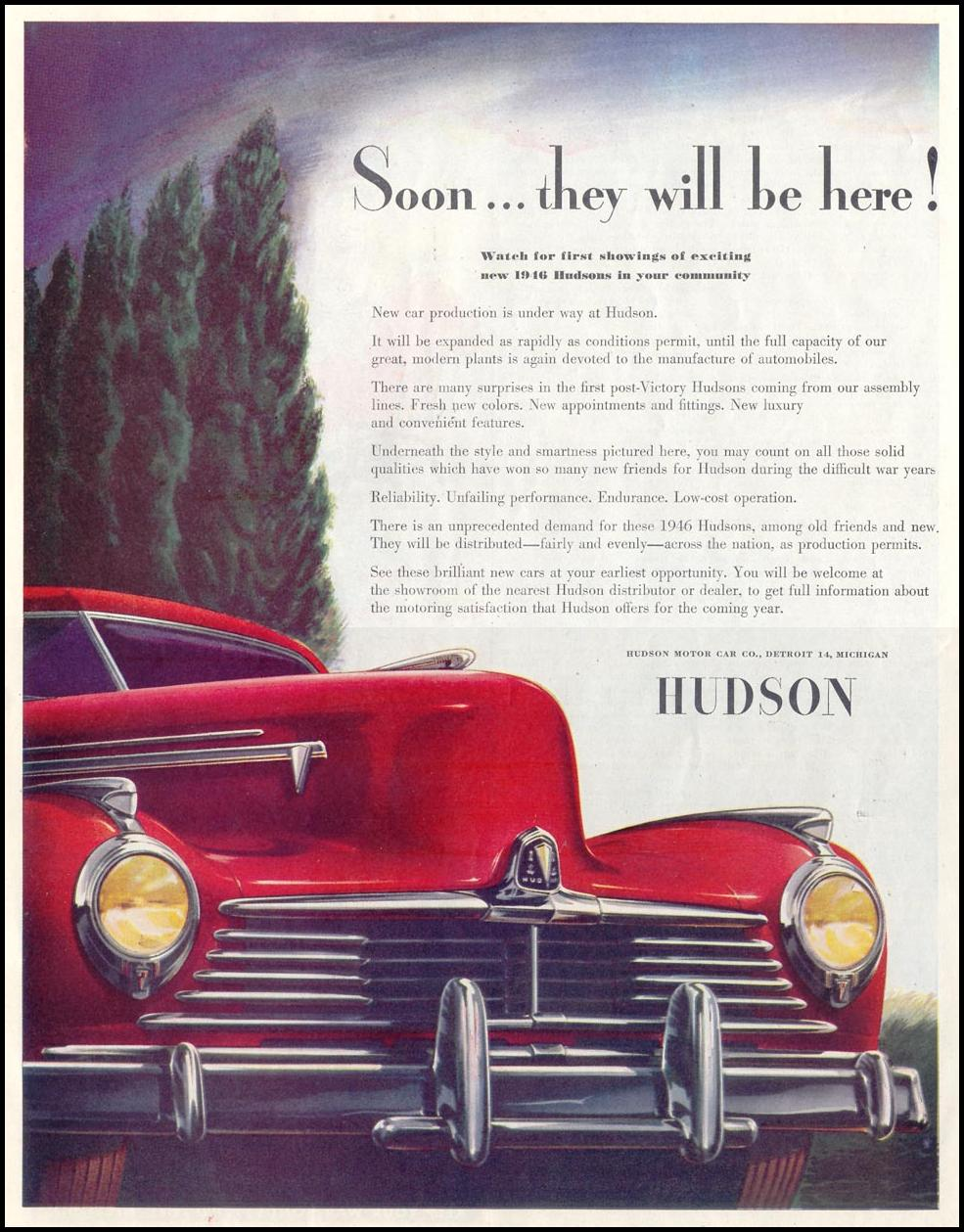 HUDSON AUTOMOBILES SATURDAY EVENING POST 10/06/1945 p. 94