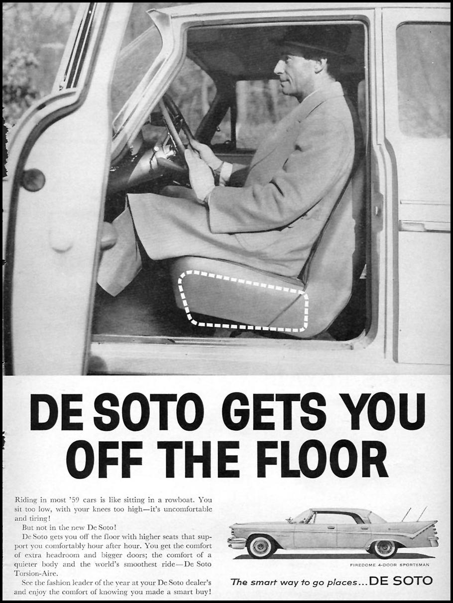 DE SOTO AUTOMOBILES SPORTS ILLUSTRATED 05/25/1959 p. 69