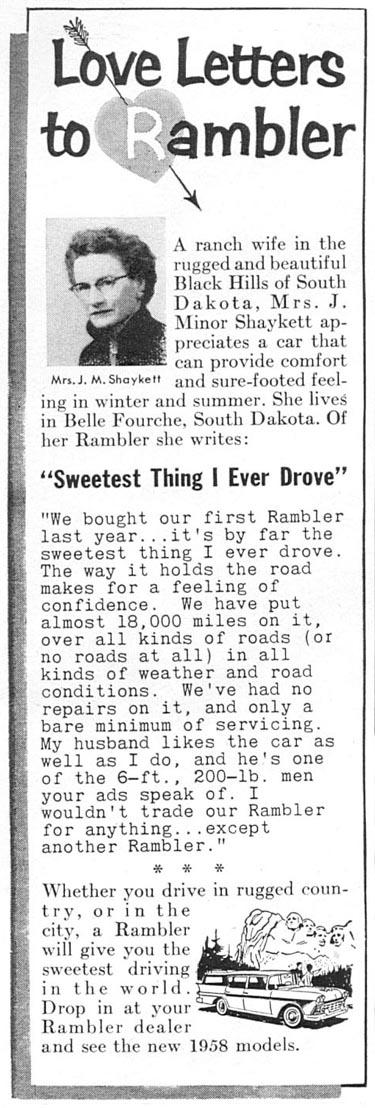 RAMBLER AUTOMOBILES TIME 05/05/1958 p. 86