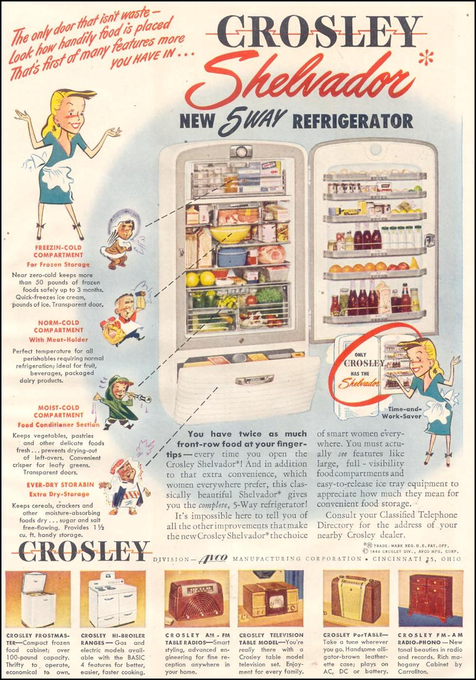 CROSLEY SHELVADOR REFRIGERATOR GOOD HOUSEKEEPING 07/01/1948