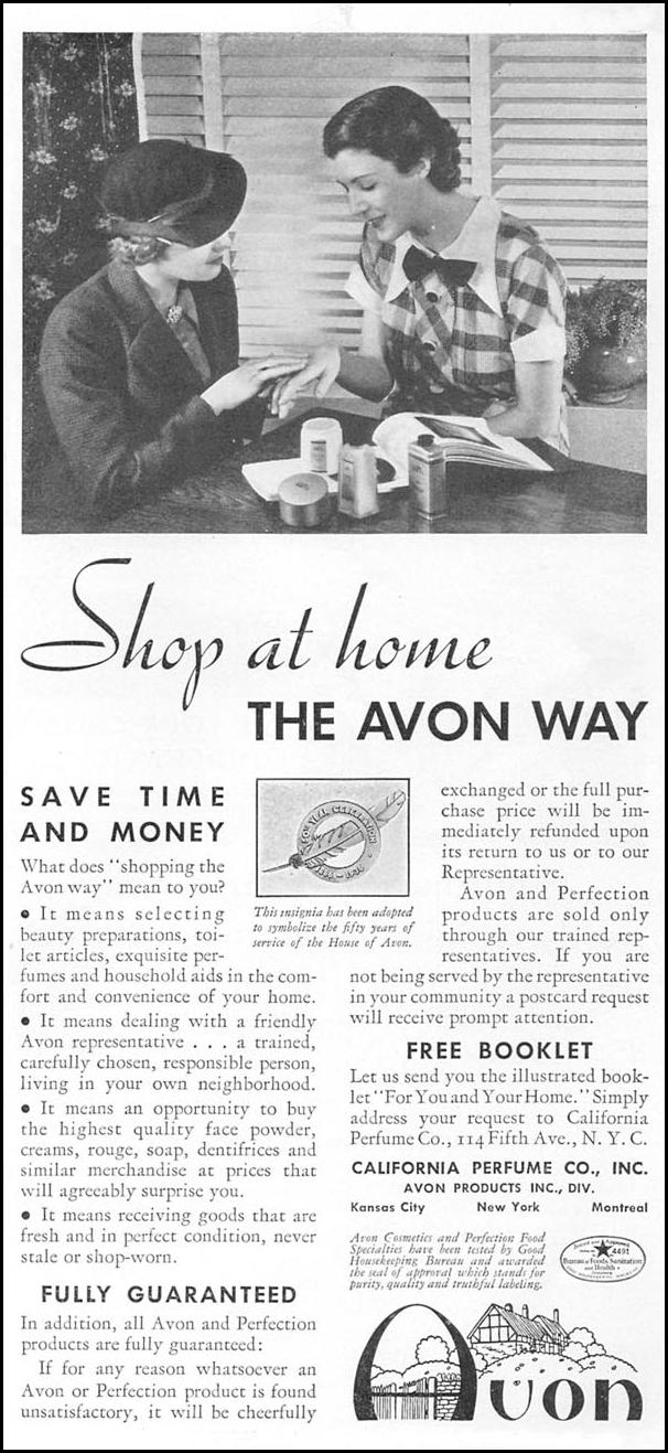 AVON COSMETICS GOOD HOUSEKEEPING 12/01/1934 p. 151