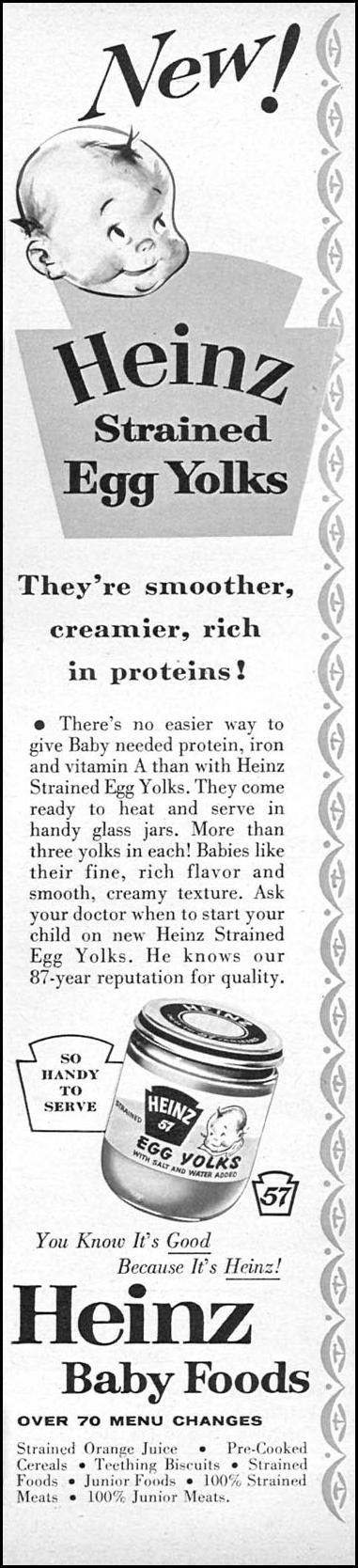 HEINZ STRAINED EGG YOLKS FAMILY CIRCLE 01/01/1956 p. 61
