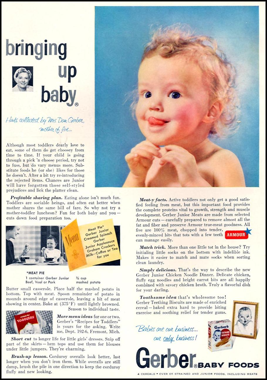 GERBER BABY FOODS FAMILY CIRCLE 02/01/1956 INSIDE FRONT
