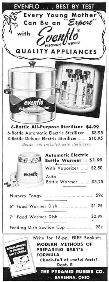EVENFLO PRECISION FEEDING APPLIANCES WOMAN'S DAY 02/01/1954 p. 168