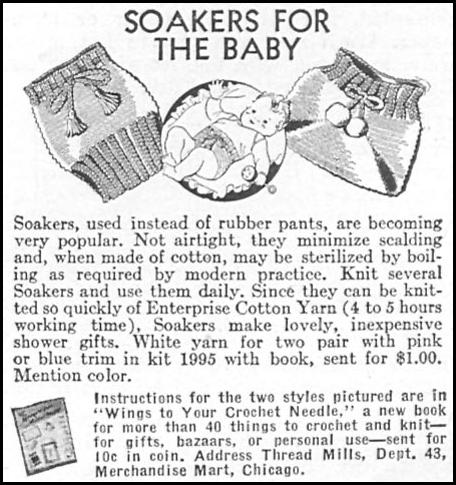 DIAPER SOAKER KNITTING PATTERN WOMAN'S DAY 04/01/1943 p. 65