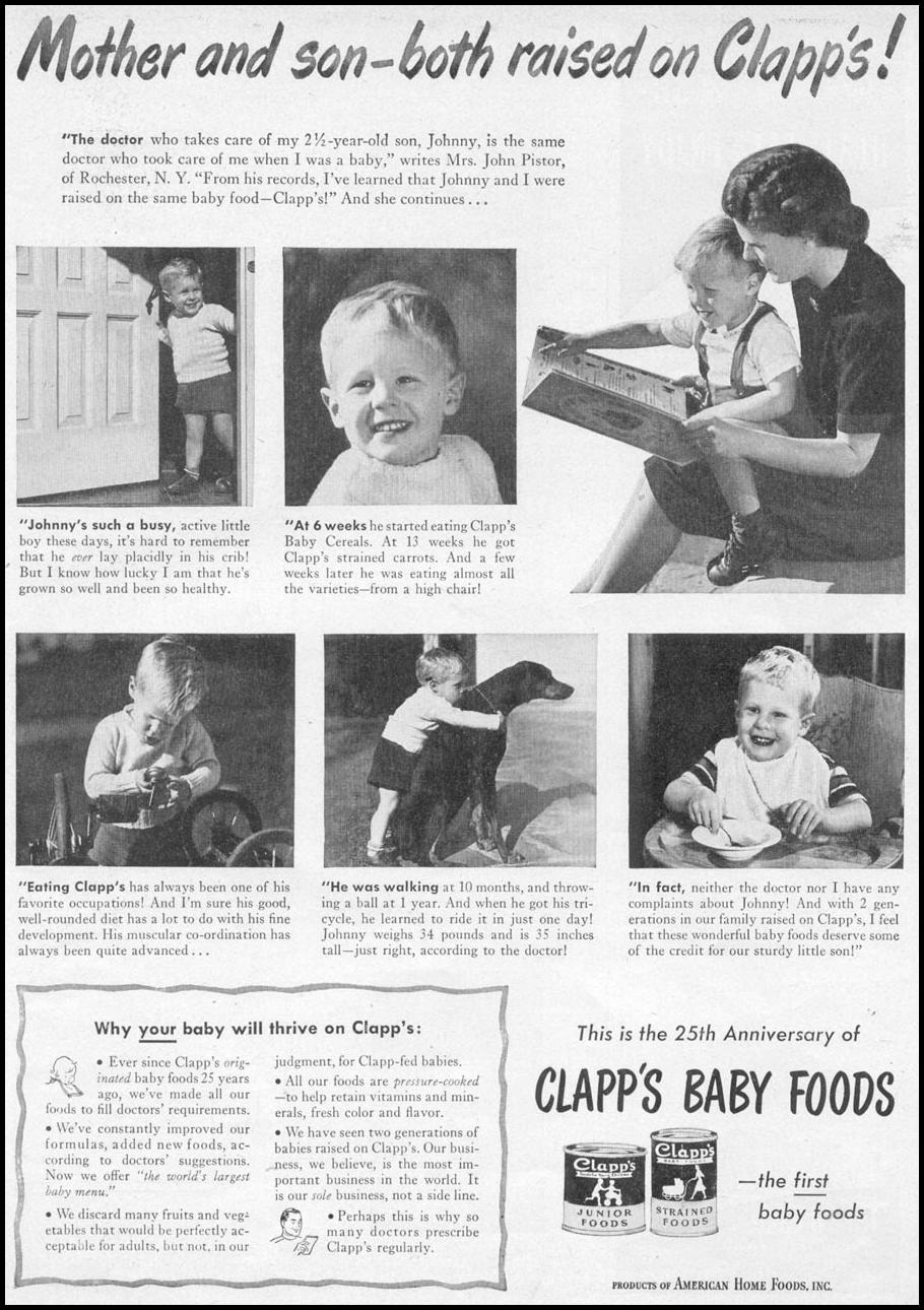 CLAPP'S BABY FOODS WOMAN'S DAY 06/01/1946 p. 57