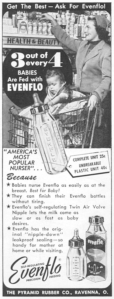 EVENFLO BABY NURSER WOMAN'S DAY 09/01/1955 p. 116