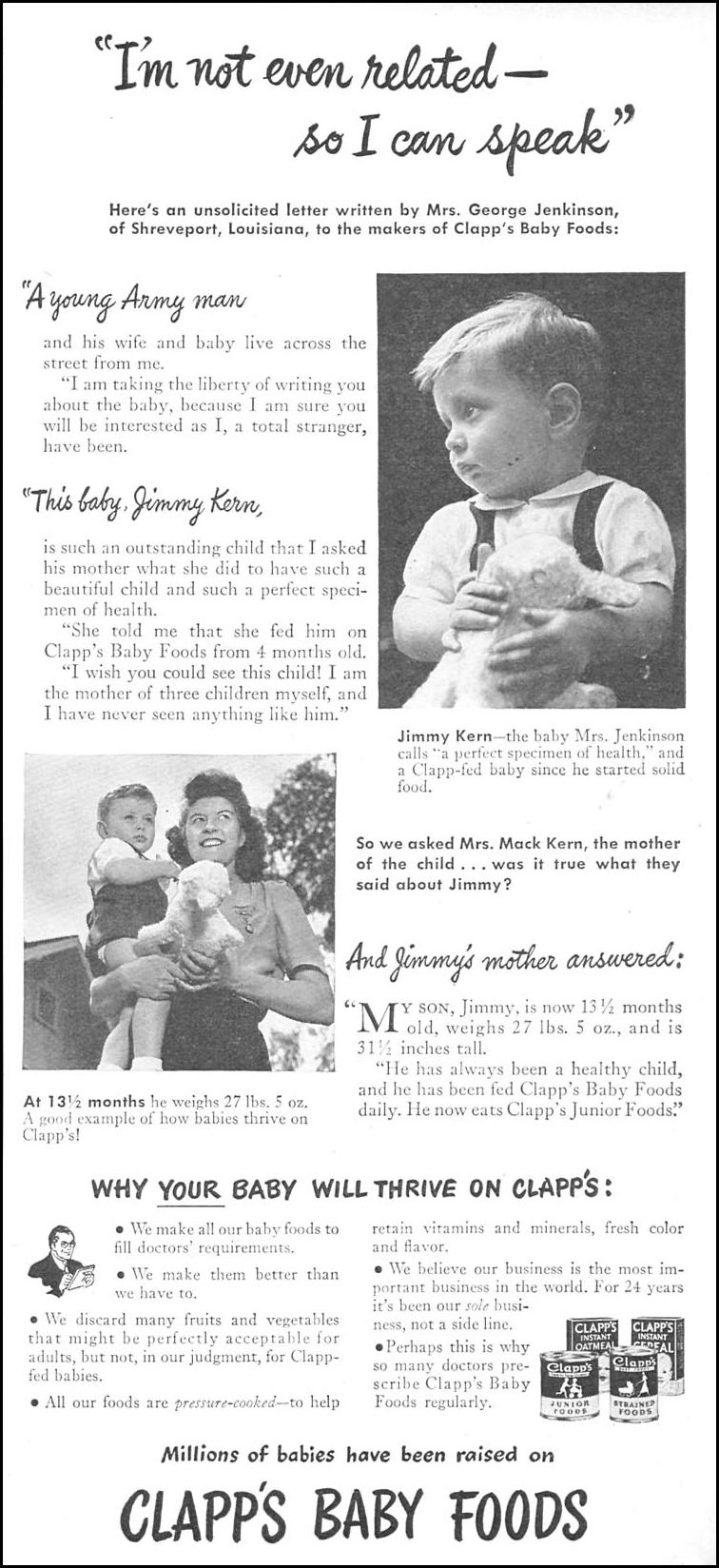 CLAPP'S BABY FOODS WOMAN'S DAY 11/01/1945 p. 77