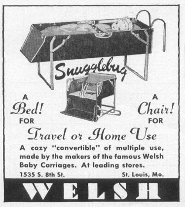 SNUGGLEBUG CONVERTIBLE BABY BED WOMAN'S DAY 12/01/1948 p. 115