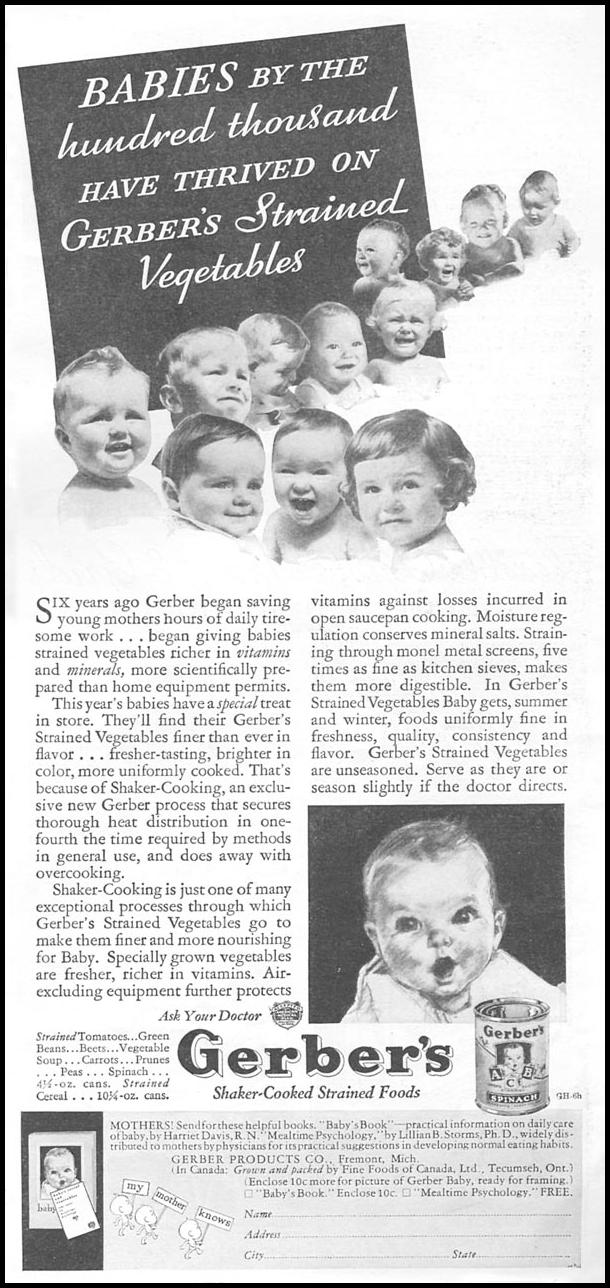 GERBER'S SHAKER-COOKED STRAINED FOODS GOOD HOUSEKEEPING 06/01/1935 p. 197