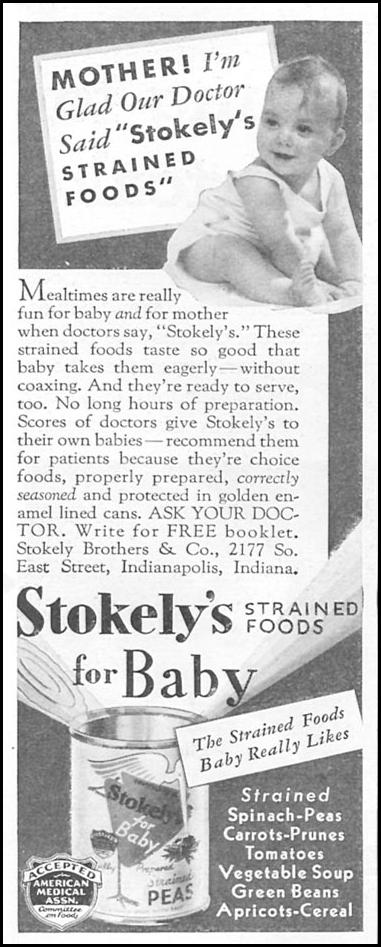 STOKELY STRAINED FOODS FOR BABY GOOD HOUSEKEEPING 06/01/1935 p. 204