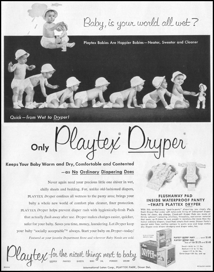 PLAYTEX DRYPER DISPOSABLE DIAPERS LIFE 10/13/1952 p. 13